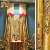 Wholesale Custom Made Luxury Palace Golden Yellow Curtains for Living Room Tulle Window Curtain Joyous Wedding Peony Jacquard Eco Friendly Curtains