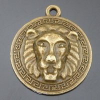 antique bronze lion - pack Punk Antique Bronze Tone Alloy Round Lion Charms Necklace Pendant Vintage Mana Animal Jewelry Making mm