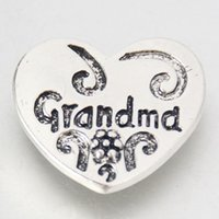 beauty grandma - Fashion KZ1243 Beauty Charming Heart shape quot Grandma quot MM ginger snap buttons for DIY ginger snap Jewelry Accessories charm
