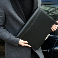 Wholesale leather padfolio business A4 manager planner black loose leaf coil custom pu leather zip document folder bag with calculator