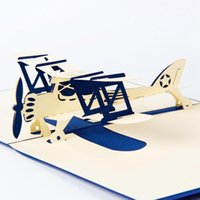 Wholesale Retail Laser Cut D Handmade Airplane Pop Up Greeting Card With Free Envelope Personalize Christmas Gift Cards