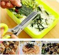 Wholesale Multi functional Stainless Steel Kitchen Knives Layers Scissors Sushi Shredded Scallion Cut Herb Spices Scissors Cooking Too