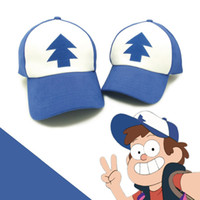 baseball animations - Gravity Falls Hat Dippers Blue Pine Tree Unisex Trucker Hat Cartoon Animation Fans Adult Kids Boys Girls Baseball Hat