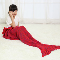 korean style blankets - Spring Bedding Sofa Mermaid Blanket Wool Knitting Fish Style Little Tail Blankets Warm Sleeping Child Kids Princess Loves Gift