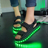 b songs - New Sandals female Xia Song cake thickness bottom flat shoes with student led lamp glow