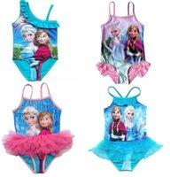 Wholesale Retails pc Frozen Anna Elsa kids swimwear beach children baby girls swimsuit top quality girls swimsuits swimwear blue colors Years Old