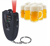 Wholesale Keychain Breathalyzer With Red LED Flashlight Alcohol Breath Tester Test Breathalyser Analyzer Torch Flashlight Key Ring Chain