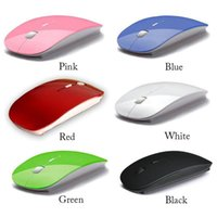 Wholesale Ultra Thin USB Optical G Wireless Mouse Nano Receiver Super Slim Mouse For Computer PC Laptop Desktop Candy color