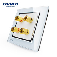 Wholesale Manufacturer Livolo White Crystal Glass Panel Gangs Home Wall Sound Acoustics Socket VL W292A
