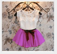 baby button tops - 7 Colors Summer Girls Clothing Sets White Lace Sleeveless Vest Tops Tutu Skirt Kids Outfits Baby Girl Suit Cute Girl Clothes