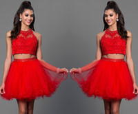 Wholesale Short Appliques Red Cocktail Gowns Women Beads Mini Homecoming Dresses Rhinestones Big Girls Evening Prom Party Dresses