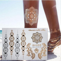 ankle chain tattoos - In business styles temporary tattoo Body art chain gold tattoo tatoo flash tattoo metallic tattoo jewelry temporary tattoos