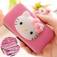 Wholesale Pink HELLO KITTY beauty manicure tools suit set cute cartoon nails art kits SET including Nail clippers scissors ect