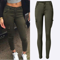 Wholesale new popular low waisted stretch skinny Robin jeans woman pockets leisure sports Army green pencil pants plus size distressed jeans