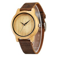 bands cowhides - 2016 Men s Bamboo Wooden Wristwatches With Genuine Cowhide Leather Band Luxury Wood Watches Unisex Christmas Gifts