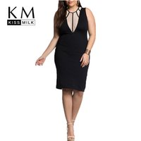 Wholesale Kissmilk Plus Size New Fashion Women Big Size Slim Sexy Sheer Night Club Deep V neck Sleeveless Dress XL XL XL XL