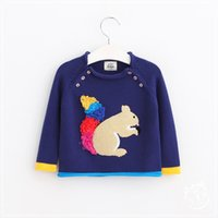 animals squirrels - 2016 Baby Girls Knit Squirrel Sweaters Kids Girls Wool blends Cartoon Jumper pullover Babies Auutmn Winter Christmas Clothing