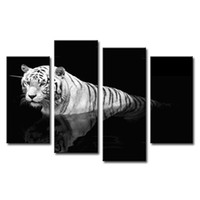 Wholesale 4 Pieces Black White Wall Art Painting Tiger Prints On Canvas The Picture Animal Pictures For Home Modern With Wooden Framed