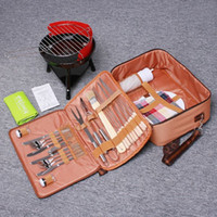barbeque grill tool sets - Hot Sale Outdoor BBQ Set Portable Camping Hiking Picnic BBQ Grill Knives Forks Plates Cloth Napkins with Bag Barbeque Tools Set