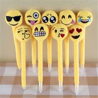 Wholesale Newest emoji Ballpoint Pens Plush Toy children s love Creative Expression pen with cartoon plush toys kids Christmas Gift ZD097A
