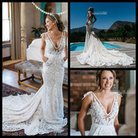 Wholesale Vintage Inbal Dror Lace Wedding Dresses Backless Plunging Deep V Neck Chapel Train with Pockets Sheer Summer Beach Bridal Gowns