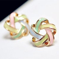 Wholesale 2016 New Fashion Novel Jewelry Color Stripe Earrings For Women Trendy Brincos Pequenos Stud Earrings