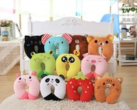 Wholesale Comfortable Multi Color Cartoon Animal U Shaped Travel Neck Pillow Cotton Pillows Support Head Rest Cushion