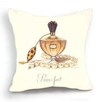 Retro Design 18 '' Housse de Coussin Taie Beige bouteille de parfum collier de perles