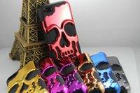 achat en gros de hybride cas du crâne-2 en 1 Bing 3D Skull Chromé Hard Case Hybrid Pour Iphone 7 I7 4.7 / 7plus plus 5.5PC Luxury Metallic Plastic + Soft double peau de silicone de la couche