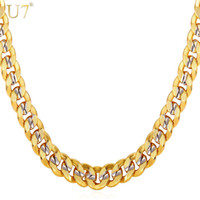 Wholesale New New Two Tone Gold Chain For Men Jewelry With Stamp Trendy K Real Gold Plated MM Size Curb Men Necklaces Gift N552