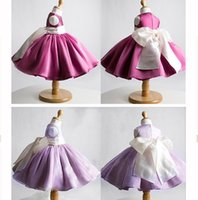 Wholesale 2016 New Pink Flower Girls Dresses For Weddings Sleeveless Large Bows Short Organza Ball Gowns Kids Girls Party Dresses Years