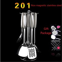 Wholesale High Quality Kitchen Utensils Stainless Steel Mirror Polishing Kitchenware Suit Cookware Set Kitchen Rack Shovel Spoon set