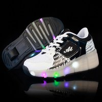 Wholesale 2016 New Children Heelys Wheels Shoes with Led Light New Brand Kids Roller Skate Sneakers Boys Girls Luminous Glowing Fashion Shoes