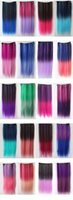clip in one piece extensions - Fashion One Piece Omber Dip dye Color Synthetic Clip in Hair Extensions Straight