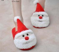 Wholesale Santa Claus Slippers Christmas Soft Home Slippers Xmas Indoor Man Woman Shoes Christmas Plush Child Kids Slipper