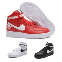 best skates - Supre me AF1 red top sneakers th Anniversary white Skate shoes best shoes black Genuine Leather