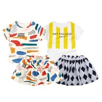 Cheap Summer style Fashion fruit color scrawl Letter Striped bobo printed baby girl clothes set tee + skirts 2 piece set