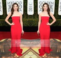 Wholesale Celebrity Dresses The rd Golden Globe Emmy Rossum Mermaid Prom Dresses Strapless Long Red Carpet Dresses Awards Prom Evening Gowns