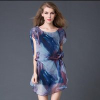 Wholesale Large size ladies printed dress elegant short sleeved shirt leisure blouse snow spins unlined upper garment