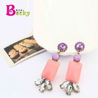 baguette earrings - European and American fashion Bohemian baguette earrings