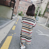 Wholesale 2016 Winter Autumn Sweater Baby Girls Clothes Long Dress Colorful Striped Dress Long Sleeve Warm Sweater Coat Kids Clothes Cardigan