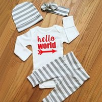 baby coat newborn - 2016 Newborn Baby Boy Cotton Stripe Coat Letters Long Sleeved Climbing Clothes Romper Trousers Piece Clothes Baby s Sets