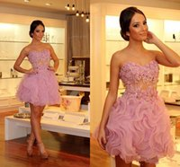 adorable homecoming dresses - Adorable Mini Short Pink Cocktail Dresses Sweetheart Organza Cupcake Appliqued Beaded Illusion Bodice Short Party Prom Homecoming Gowns