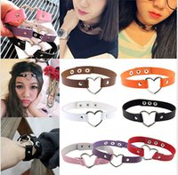alloy rivets - Women Girls Favorite Punk Goth Leather Rivet Heart Ring Collar Choker Funky Necklace