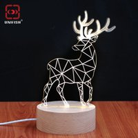 Cheap 2016 Fashion UniFish U985 Deer 3D Table Lamp Christmas Handcraft Gift US EU UK Plug LED Lamp 3D Wireframe Magic Night Bed Light Atmosphere
