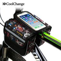 Wholesale CoolChange High Quality Cycling Bike Front Frame Bag Tube Pannier Double Pouch for Cellphone Bicycle Accessories Riding Bag