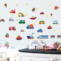Decal PVC Cartoon Cartoon Transportation Transport Vehicle Car Vinyl Removable Decals for Kids Bedroom Nursery Living Room Mural PVC Wall Stickers