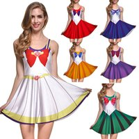 Wholesale Sexy Army Style - NEW 265 Style Sexy Girl Women Summer Sailor Moon Crystal white Cosplay 3D Prints Reversible Sleeveless Skater Pleated Dress Plus size