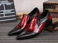 Wholesale 2016 Black Red Genuine Leather Men Shoes Elevator Men Brogues Pointed Toe Men Dress Shoes Slip On Oxford Shoes For Men Wedding Shoes