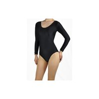 adult dance leotards - Womens Plus Size Nylon Lycra Spandex Scoop Neck Long Sleeve Adult Dance Thong Leotard Shapewear Bodysuit Tops